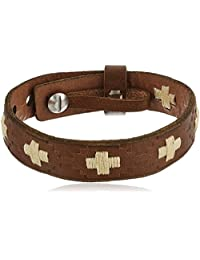 Fossil Mens Vintage Casual Cross-Stitched Leather Bracelet