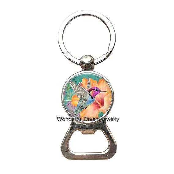 Llavero con abrebotellas de colibrí, llavero, diseño de pájaro ...