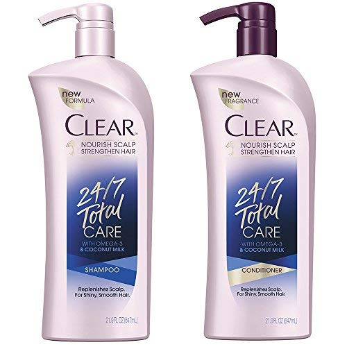Clear 24/7 Total Care Shampoo & Conditioner 21.9 Ounce with Pump Bundle