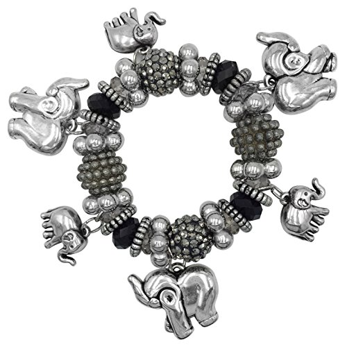 (Lucky Elephant Dangle Charms Large Beaded Boutique Stretch Bracelet)