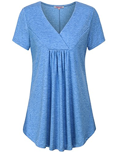 Misswor V Neck Tunic Tops for Women, Ladies Petite Flowy Long Shirt Textured Flattering Solid Short Sleeve Tunic Flyaway Trapeze Easy Fit Summer Draped Pleat Blouse for Work Color Blue M