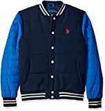 U.S. Polo Assn. Men's Baseball Fleece Jacket with Shell Sleeves, Classic Navy, M