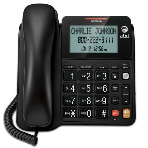 AT&T CL2940 Corded Phone with Speakerphone, Extra-Large Tilt Display/Buttons, Caller ID/Call Waiting and Audio Assist, Black (Wall Corded Telephone)