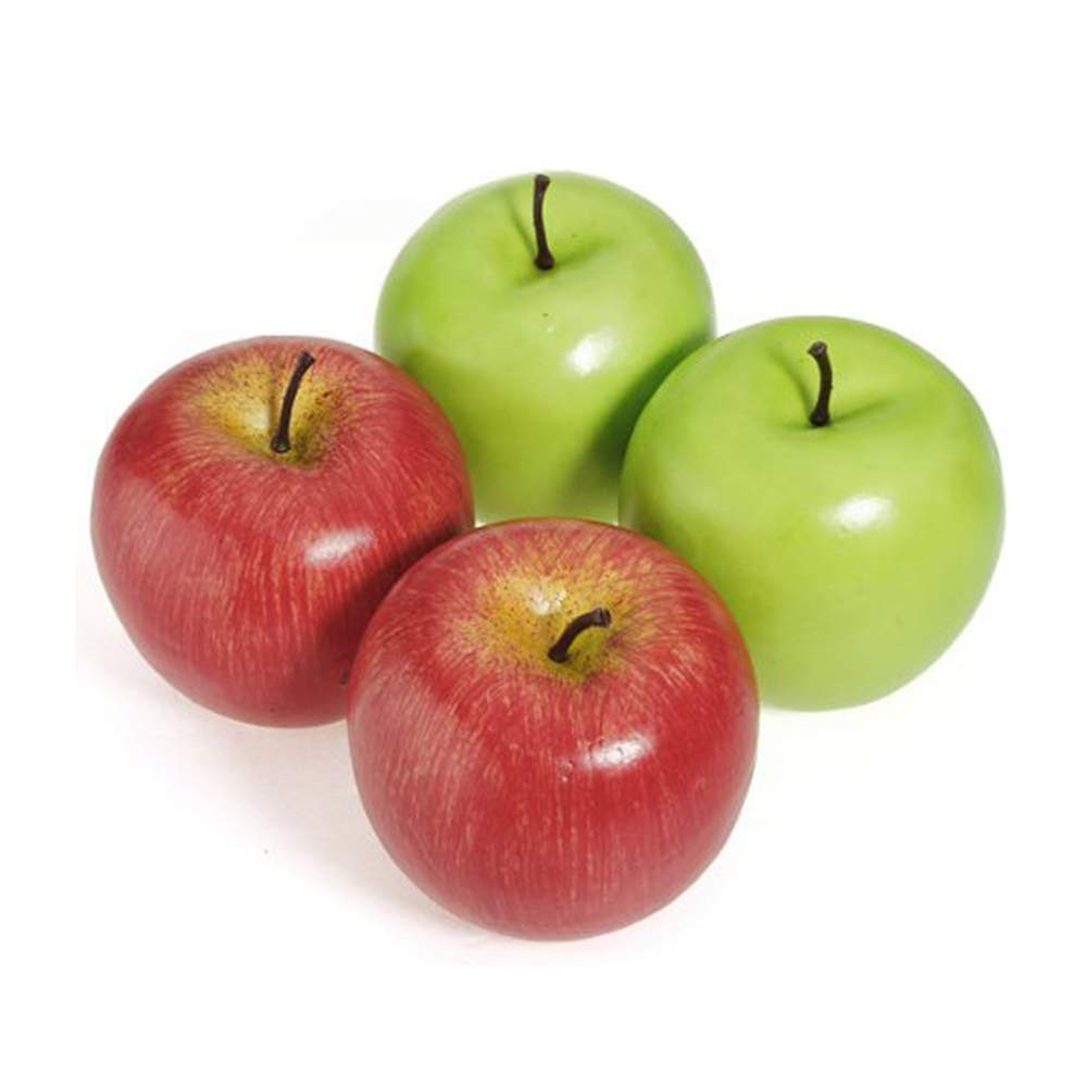 4Pcs Simulation Artificial Lifelike Fake Red Green Apples Plastic Fruit for Home Kitchen Party Decoration Photography DIY Use