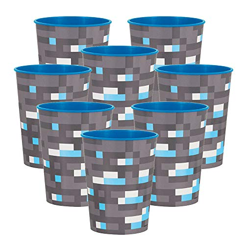 BirthdayExpress Minecraft Party Supplies 16oz Plastic Favor Cup for 8
