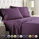 Deep Purple Duvet Cover Hotel Luxury Bed Sheets Set- 1800 Series Platinum Collection-Deep Pocket, Wrinkle & Fade Resistant(Queen,Eggplant)