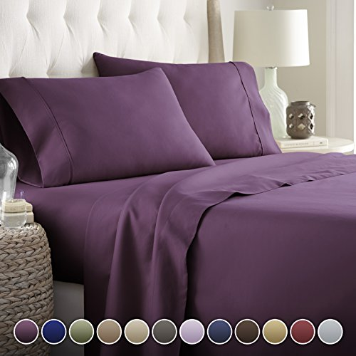 Hotel Luxury Bed Sheets Set Today On Amazon Softest Bedding 1800 Series Platinum Collection 100 Deep Pocket Wrinkle Fade Resistant Full Eggplant
