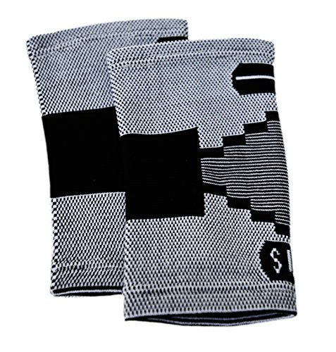2 Classic Elbow Support Sleeves By Susama: Medium / Large - #1 Tennis Elbow Brace for Men + Women - Aids in Bursitis, Tendonitis, Muscle Soreness and Swelling - Wraps for Any Sports & Workout Exercise