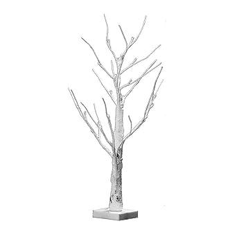 Moderne Argent Bouleau Lampe Cm 60 Hauteur Lumières D'intérieur Led FlKJc1