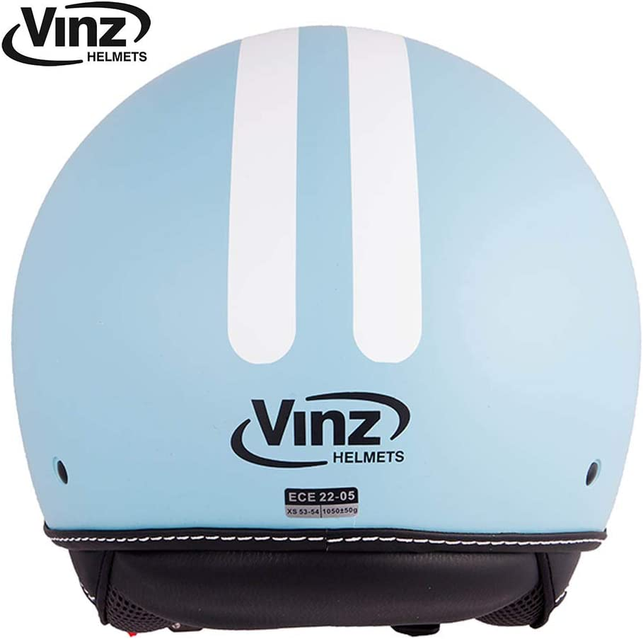 ECE certified. light blue with white stripes in sizesXS-L helmet with visor Vinz Motorcycle helmet