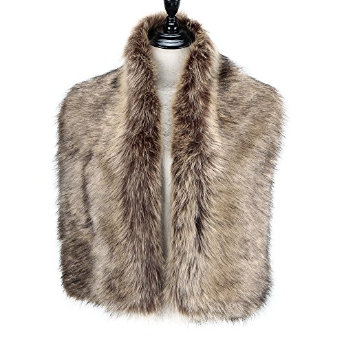 Caracilia Women Winter Scarf Wrap Faux Fur Collar Shawl Shrug Brown 120CA97 by Caracilia (Image #1)