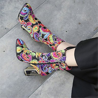 Heart&M Damen Schuhe Leder Winter Neuheit Modische Stiefel Stiefel Blockabsatz Runde Zehe Mittelhohe Stiefel Für Hochzeit Kleid Armeegrün Rot red