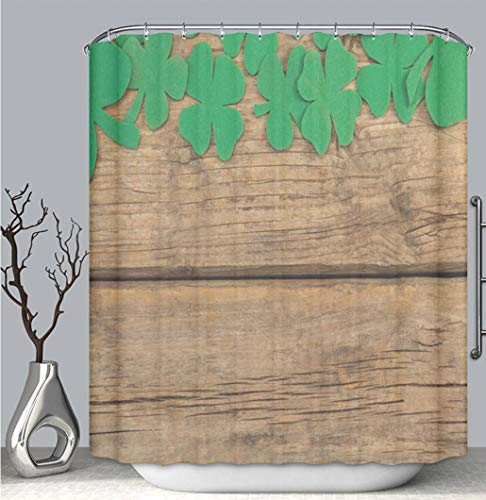 Color Shower Curtain liner anti-mildew antibacterial, St Patricks Day shamrock beer bottle and pot filled with chocolate gold coins multi-color,custom shower curtain Bathtub bathroom accessories. -