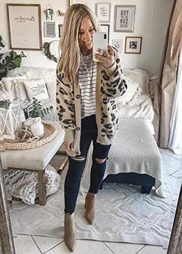 BTFBM Women Fashion Leopard Print Button Down Long Sleeve Soft Loose Knit Sweater Cardigan Coat Fall Winter Outwear