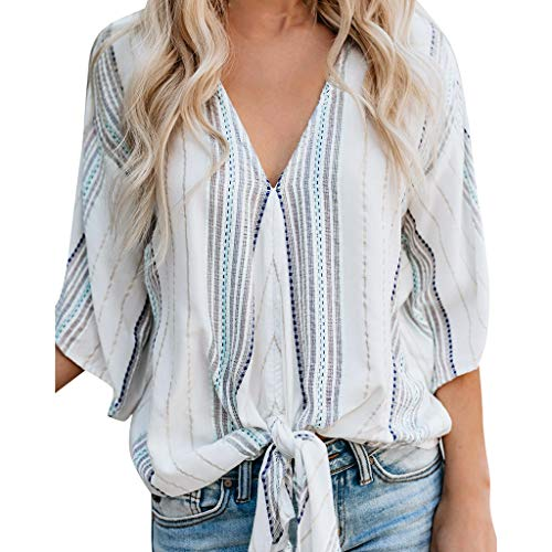 NCCIYAZ Womens Shirt Boho Ethnic 3/4 Short Sleeve Striped Top Ladies Beach Slouch Blouse Cover-up(XL(10),White)
