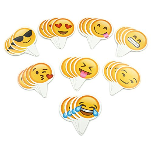 Popculta 32Pcs Cute Emoji Cupcake Topper Cake Decoration (Pack of 32)