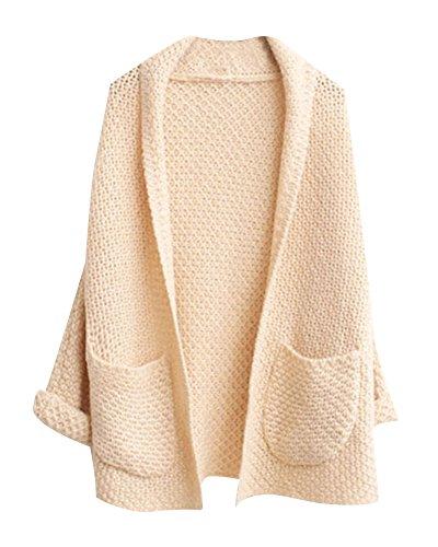 Femmes Cardigan Pull Manches Longues en Maille Chandail Outwear Gilet avec Poches Beige