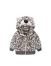 Ameny® Toddler Kids Comfy Velvet Leopard Print Animal Hoody Anoraks Jacket
