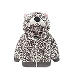 Janeyer Toddler Kids Comfy Velvet Leopard Print Animal Hoody Anoraks Jacket (Beige) 2/Fit 1-2 Years old