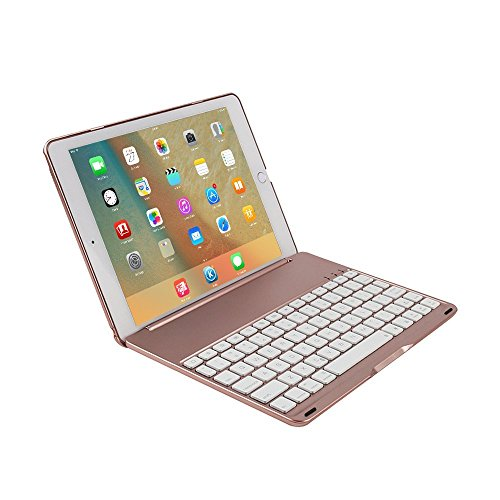 FuriGer iPad Wireless Keyboard with Case,Pro 10.5 Bluetooth 7 Colors Adjustment Backlit Wireless Keyboard Ultrathin, Aluminium, Lightweight and portable Cover with Auto Wake/Sleep - Rosegold by FuriGer