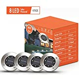 Solar Pathway Disk Lights Outdoor, 8 LED Solar Powered Waterproof Exterior Lights for Patio, Deck, Yard, Garden, Path, Pool, Home, Driveway, Stairs, Step Lights (4Pack-White-2018 Upgraded)