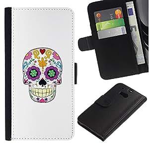 JackGot ( Cráneo floral blanca minimalista Primavera ) HTC One M8 la tarjeta de Crédito Slots PU Funda de cuero Monedero caso cubierta de piel