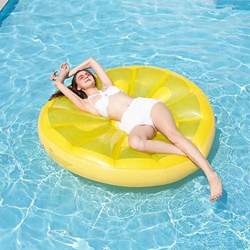 大人の子供のための55 * 55インチラウンドレモンインフレータブルプールフロートベッドビーチプールのおもちゃを