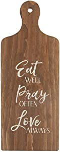 EricauBird Wall Art- Wood Sign Eat Well Pray Often Love Always 7.5 x 19 Wood Decorative Bread Board Wall Plaque, Best Present