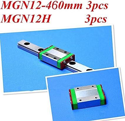 Kossel miniatura lineal guía mgn12 460 mm 12 mm Linear Rail Slide ...