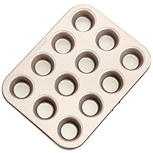 CHEFMADE Mini 12 Cup Non-stick Cupcake Pan Heavy-duty Carbon Steel FDA Approved Oven Roasting Baking Mini Muffin Tin (Champagne Gold)