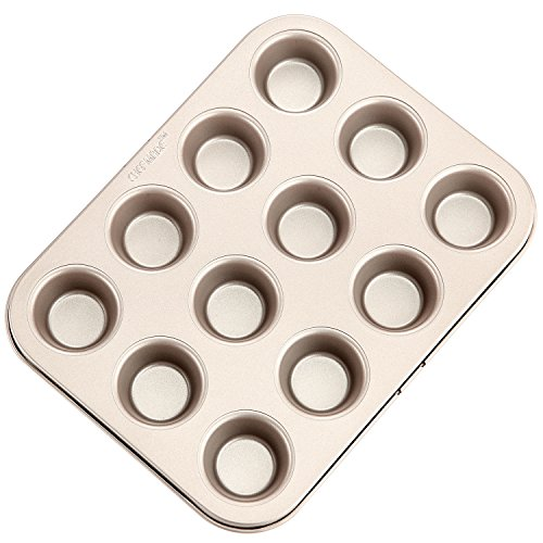 CHEFMADE 12-cavity-1.7 Mini Muffin Pan, Non-stick Carbon Steel Little Cupcake Pan, FDA Approved for Oven Baking (Champagne Gold)