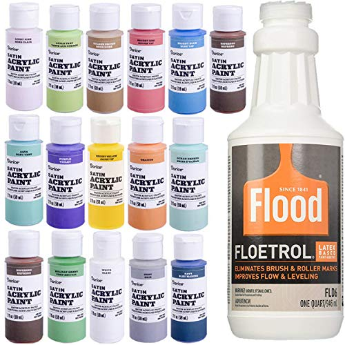1 Quart Flood Floetrol Additive, 16 2-Ounce Acrylic Paints, 20x 6-inch Pixiss Wood Mixing Sticks -  PPG, Pixiss, Darice, BDL-00196