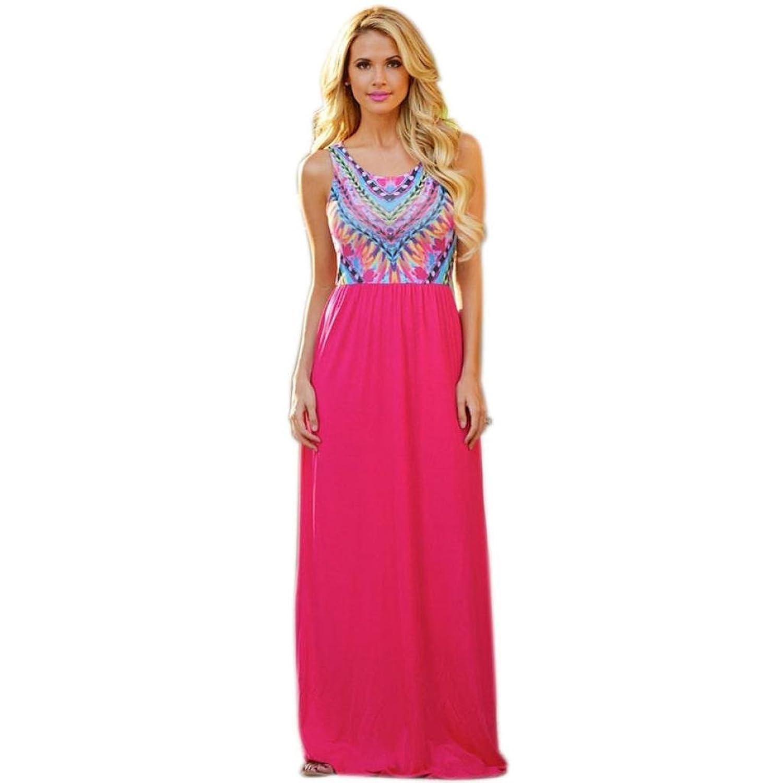 Frauen Kleid,Xinan Frauen-Sommer-Chiffon- Druck Strand Bohemian-Abend-Partei-Maxi langes Kleid