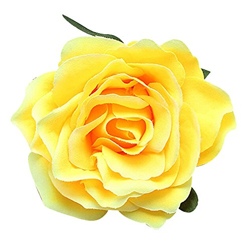 dds5391 Sweet Rose Blossom Flower Wedding Bridal Hair Clip Hairpin Brooch Pin (Rose Yellow Brooch)