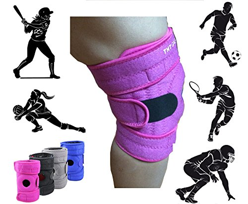 Premium Knee Brace Support. The Best Knee Protection When Running, Jumping, Climbing, Biking, Playing Football, Sport For Men & Women, Boys & Girls. One Size Adjustable Fix All. (Pink)