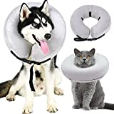 ZUNEA Inflatable Dog Collar Soft Comfortable Pet Recovery E-Collar Cone Elizabethan Collar Neck Protector for Medical Surgery Wound Healing Prevent Dogs Cats from Stitches Touching and Biting Gray, S