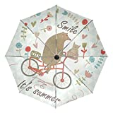 Vantaso Kids Auto Umbrella Windproof Animals Ride Bike Geometric Triangle for Women Men