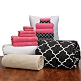 16 Piece Starter Pak Deep Pink Lattice Twin XL College Dorm Bedding and Bath Set