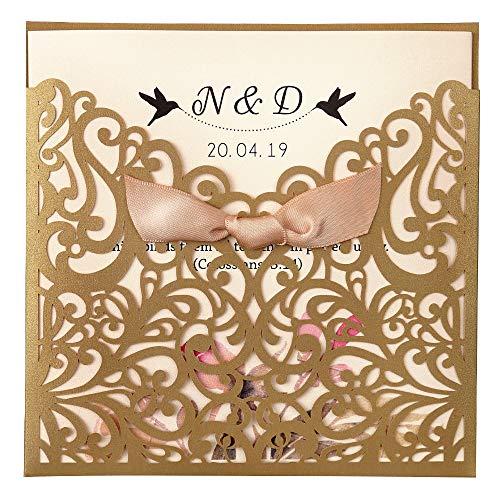 (Dream Built 50pc Wedding Invitations Wedding invites Invitations Cards Wedding Invitations kit Vertical Square Gold Laser Cut Wedding Invitation with Beige Ribbon,CW5011(Gold))