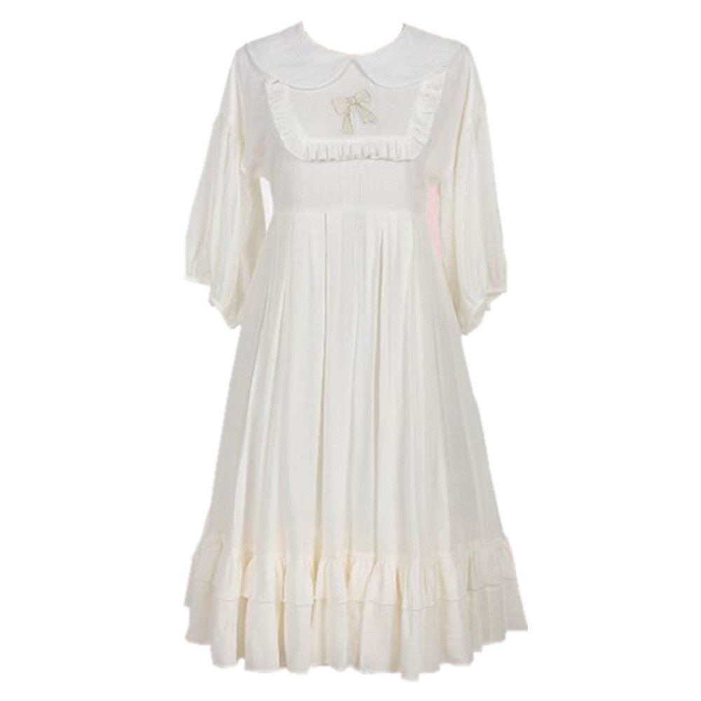 Packitcute Girls Dress Japanese Style Women Cute Sweet Lolita Cosplay Half Sleeve Loose Princess Dresses (White, S)