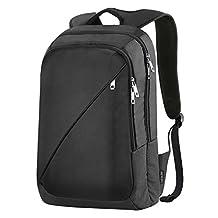 REYLEO Laptop Backpacks Business Bag Unisex School Bag Water Resistant Rucksack Fits up to 14 inch Notebook for College Work Travel (Black)