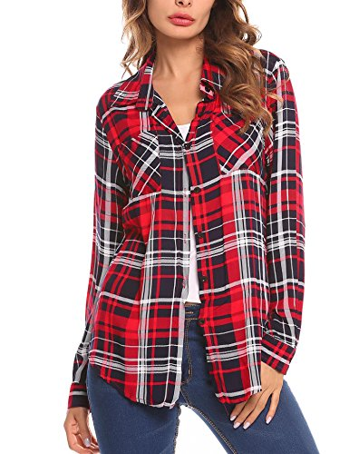 SummerRio Women's Point Collar Long Sleeves Plaid Button-up Shirts (Button Red Long Sleeve)