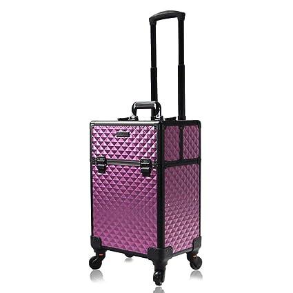 f1e3a73d0 Beauty Case Maleta Multiusos Tipo Trolley Maletín para Maquillaje Estuche  de Maquillaje,Purple