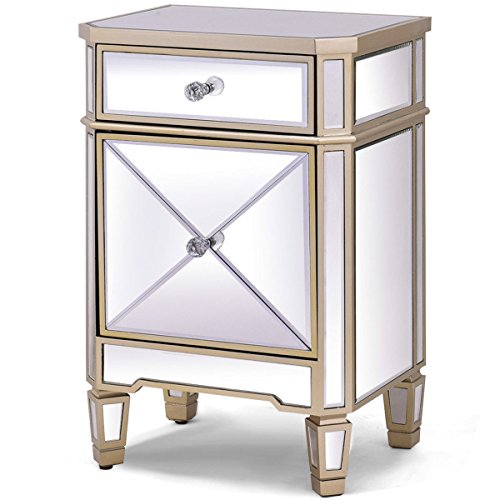 Price comparison product image Accent Table Nightstand End Table Mirrored Bedside Storage Cabinet Drawer Champagne