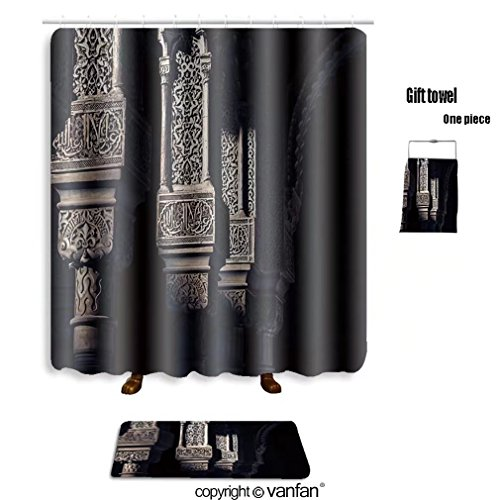 vanfan bath sets with Polyester rugs and shower curtain alhambra islamic art 182099486 shower curtains sets bathroom 60 x 78 inches&23.6 x 15.7 inches(Free 1 towel and 12 hooks) by vanfan