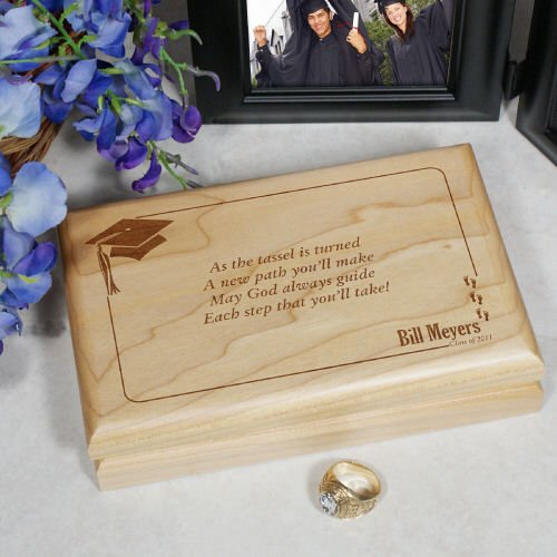 GiftsForYouNow As The Tassel is Turned Graduation Valet Box, Cherry Wood 7½