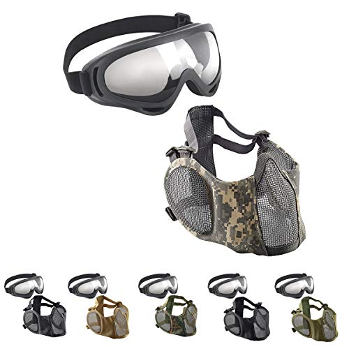 Reikirc 2019 Upgrad Airsoft Mask and Goggles Set, Paintball Mask Half Face with Ear Protection and UV400 Goggles for CS/Hunting/Paintball/Shooting/Halloween/Cosplay/Xmas/Party