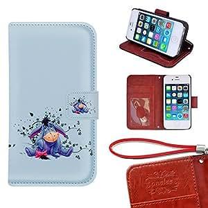 iPhone 4s Caso Monedero Funda, Twodee - Disney Winnie the Pooh Eeyore Funda de cuero de alta calidad PU Funda carpeta del tirón del caso del soporte de la cubierta Funda para el iPhone 4 4s con ranuras para tarjetas