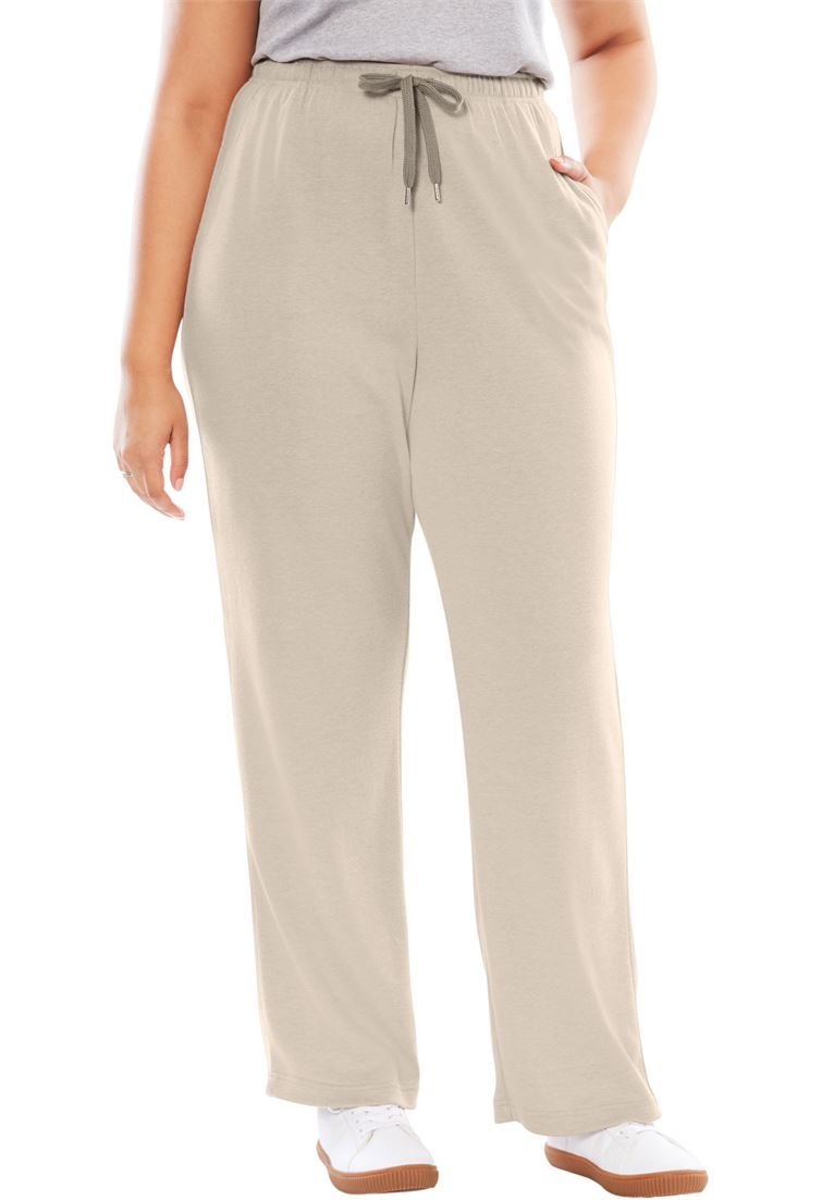 Woman Within PANTS レディース B077TCT472 L|Heather Sand Heather Sand L
