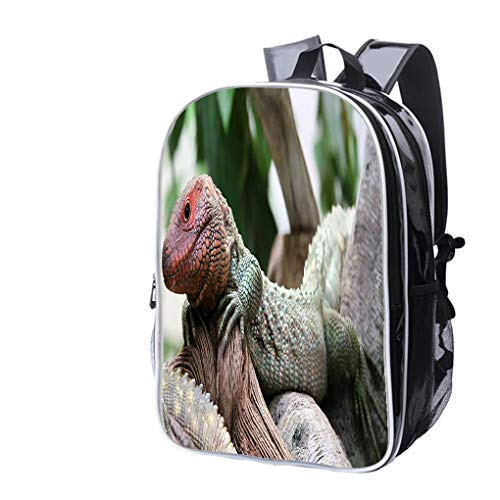 High-end Custom Laptop Backpack-Leisure Travel Backpack Close up View of a Northern Caiman Lizard Water Resistant-Anti Theft - Durable -Ultralight- Classic-School-Black